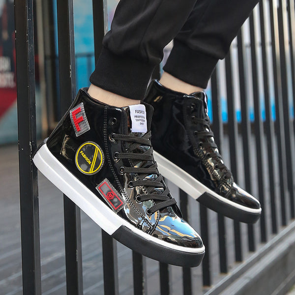 High Top Patent leather Shiny Men Street Style Sneakers