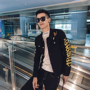 Black with Casual Yellow Pattern Slim Fit Buttoned Style Men Jacket
