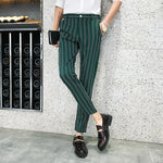 Stripe Skinny Fit Elegant Men Trousers