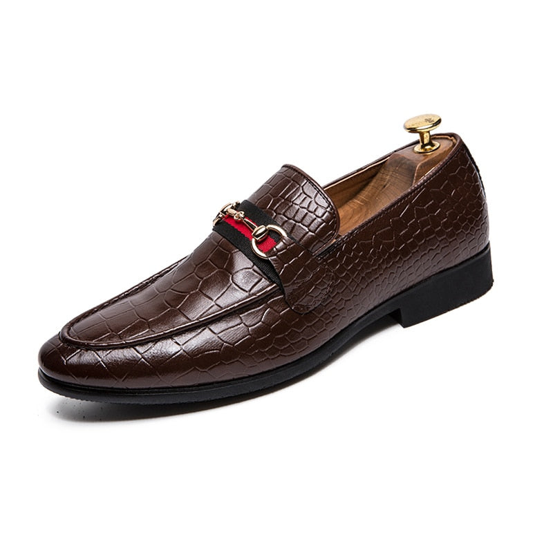 Crocodile Plaid Pattern with Chain Design Men Loafers Shoes