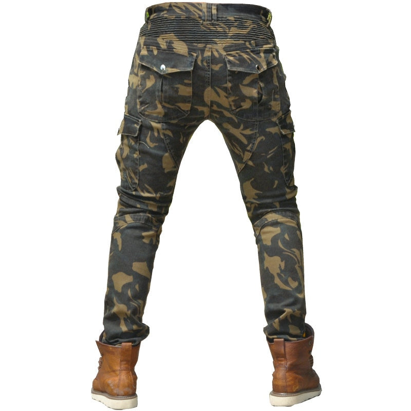 Camouflage Green Leisure Motorcycle Riding Style Men Pants