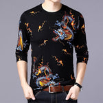 Gold Dragon with Fire Sparks Graph Print Men Pullover Shirt