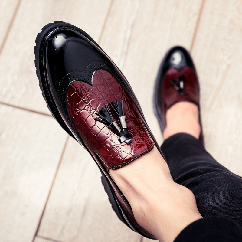 Tasseled Gloss Driving Casual Style Men Loafers Shoes