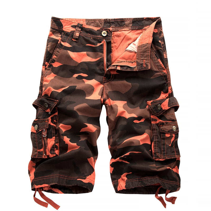Military Camo Pattern Cargo Multi Pockets Style Men Shorts