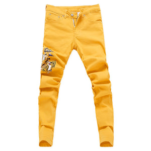 Fashion Ripped Jeans Men Embroidery Skinny Pants