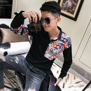 Casual Leopard Letter Patchwork Print Men Long Sleeve Shirt