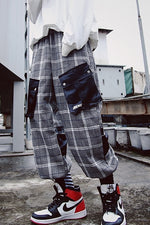Plaid Casual Loose with Patched Pocket Style Men Pants