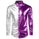 Shine Metallic Nightclub Patchwork Disco Dance Style Men Long Sleeves Shirts