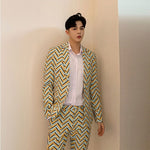 Casual Wavy Yellow Mint Pattern Set Jacket and Pant Men Suit - FanFreakz