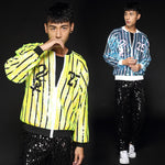 Sequinned Dancing Stage Costumes Men Jacket