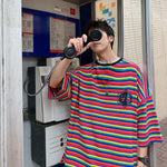 Casual Short Sleeve Stripe Loose Style Men T-Shirt