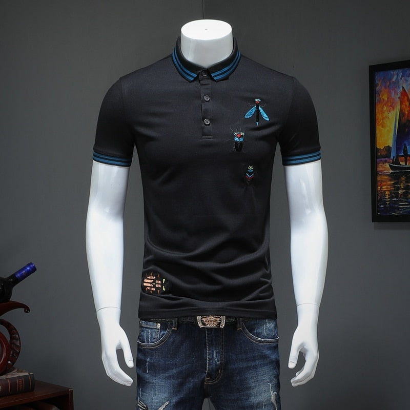 Summer Short Sleeve Embroidery Bee Turndown Collar Men Polo Shirt
