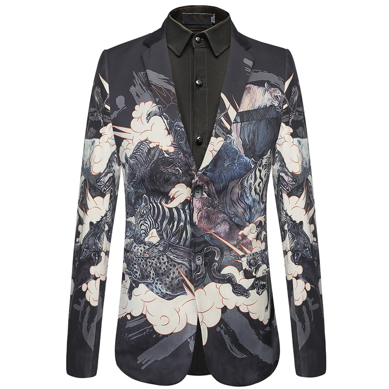 Animal Printed Pattern Slim Fit Design Men Velvet Blazer - FanFreakz