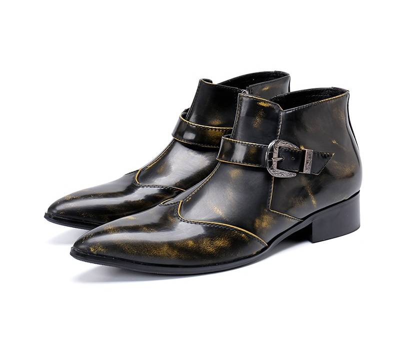 Bronze Pointed Toe Cowboy Style Men Ankle Boots - FanFreakz