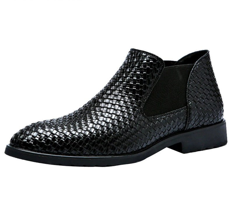 Solid Classic Hand Woven Textured Pattern Style Men Chelsea Boots
