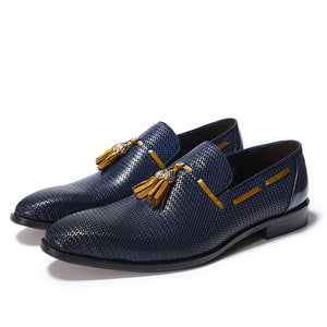 Blue Pattern Men Leather Loafers Shoe with Brown Tassel - FanFreakz