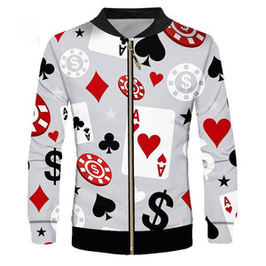 Stand Out Pattern Poker Game Print Casual Style Men Jacket