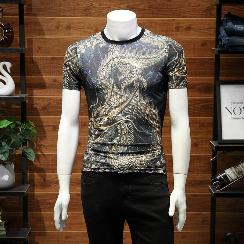 Dragon with Horn Chinese Style Printing men T-Shirt