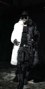 Whole Faux Fur Monochrome Style Men Warm Long Coat