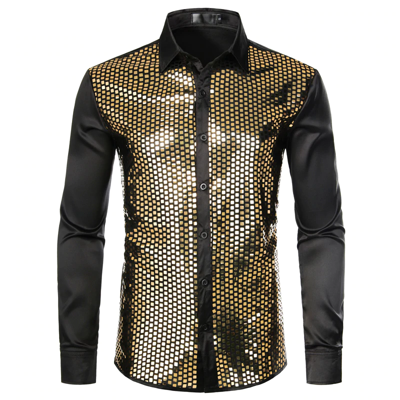 Shiny Gold Sequin Black Silk Men Dress Shirt