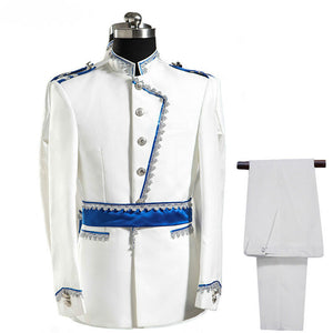 White and Blue Three Pieces Set Royal Court Costume Men Suits