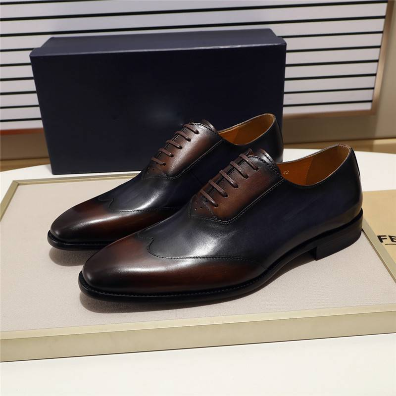 Brown Blue Genuine Leather Formal Style Men Oxfords Shoes