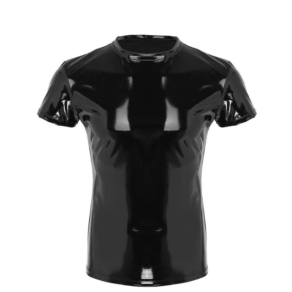 Sexy Wetlook Tight Top Punk Faux Leather Clubwear Men T-Shirt