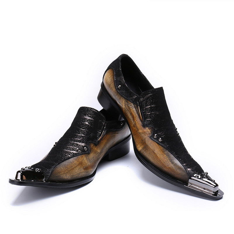 44e83afc6ac Metal Toe Two Tone Patchwork Black Dark Brown Men Loafers Shoes ...