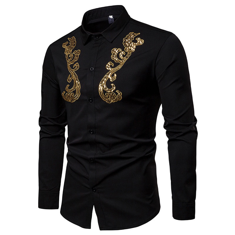 Monochrome with Gold Patch Sequin Design Men Long Sleeve Shirt