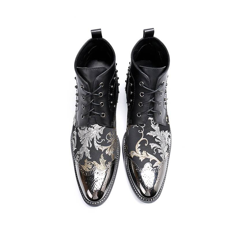 Genuine Leather Baroque Pattern Luxurious Design Men Ankle Boots