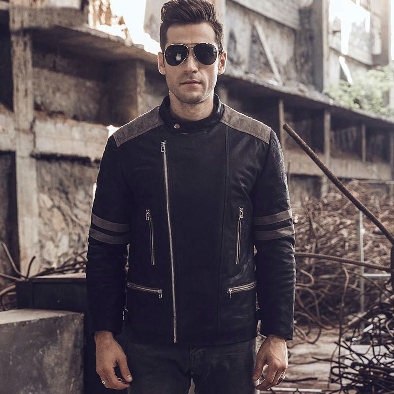 Rocker Biker Style Men Genuine Leather Jacket with Shoulder Patchwork Details - FanFreakz