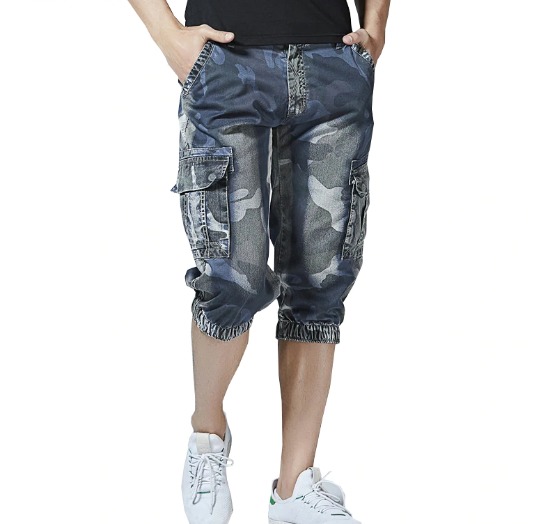 Pockets Jogger Cargo Camo Denim Style Men Shorts