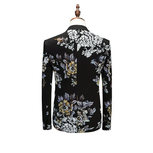 Japan Floral Art Print Men Fancy Business Formal Suit Set