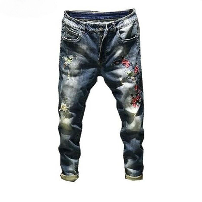 Mini Flower Petal Embroidery Design Men Slim Jeans