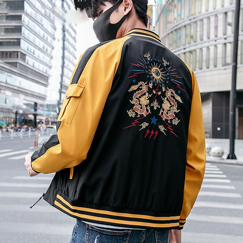a8a2f375b Chinese Dragon Embroidery Hip Hop Style Men Jacket – FanFreakz