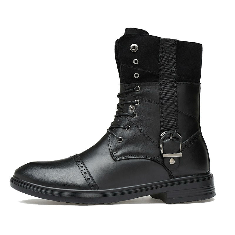 Round Toe Vertical Strap with Lace Up Detail Men Leather Boots