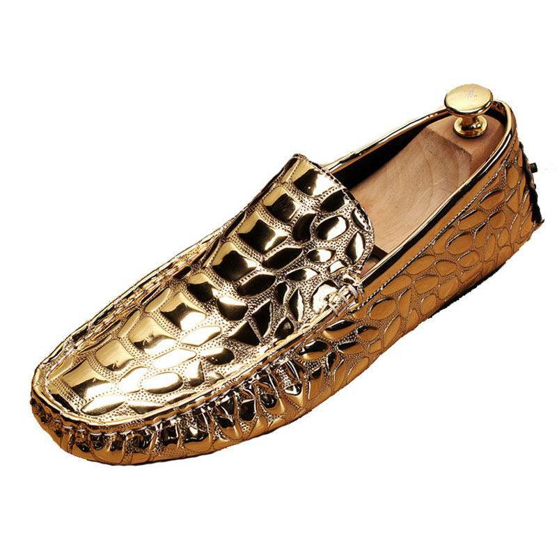Shine Metallic Croco Embossed Casual Style Men Shoes