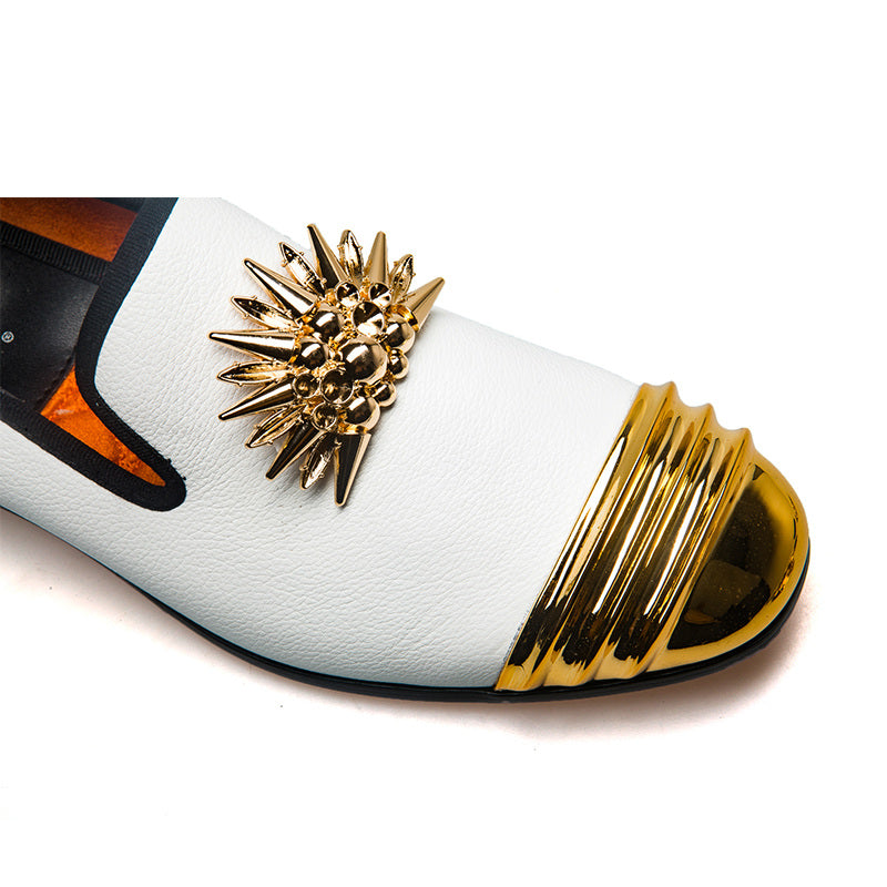 Spike Details Metal Toe Men Loafers Shoes - FanFreakz