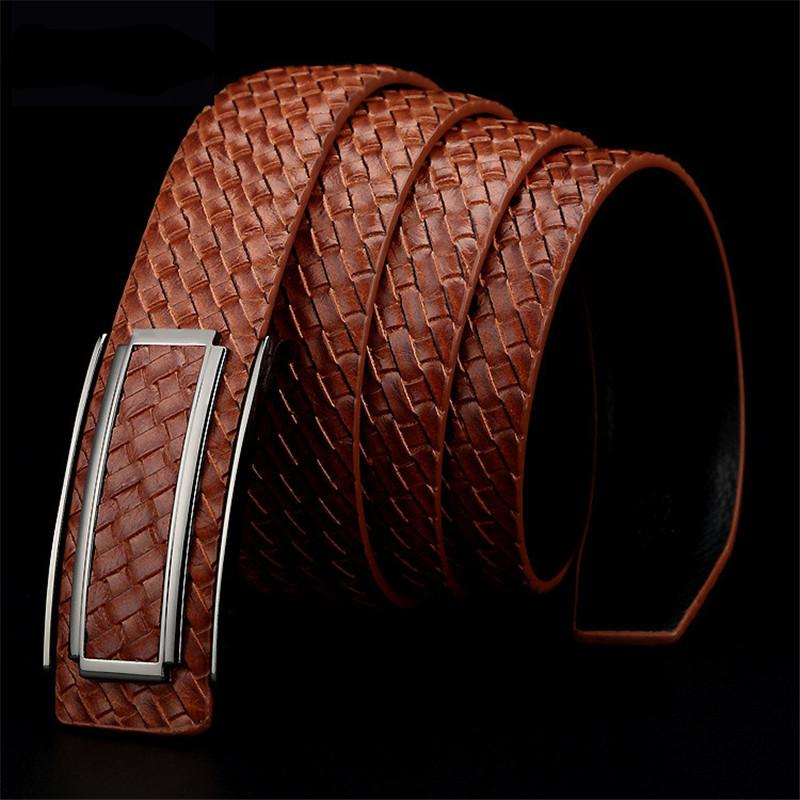 Simple Leather Buckle Woven Striped Cowhide Leather Men Belt - FanFreakz