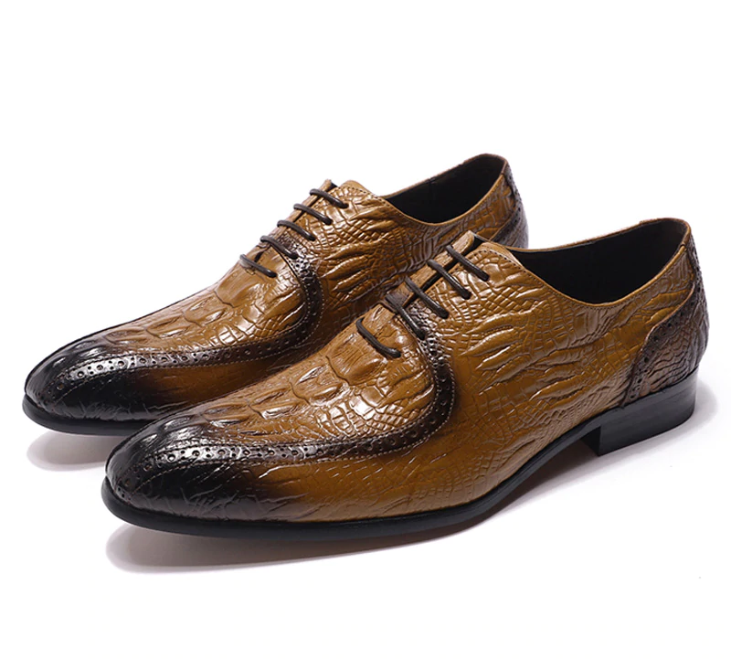 Pointed Toe Black Brown Crocodile Pattern Design Men Shoes