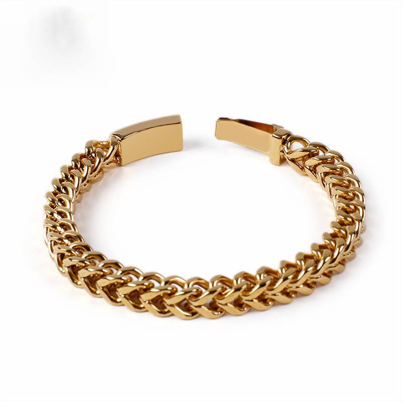 Long Link Chain Stainless Steel Vintage Wristband Bracelets
