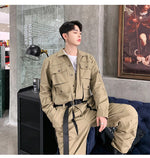 Multi Pockets Casual Overall Design Men Long Sleeve Jumpsuit Shirt