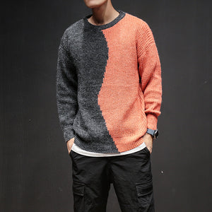 Two Contrast Color Men Knitting Sweater