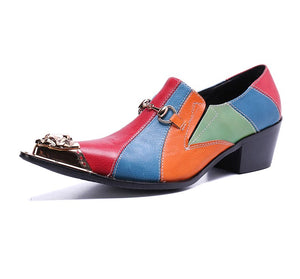 Colour Split in Pointed Metal Toe High Heels Men Shoes