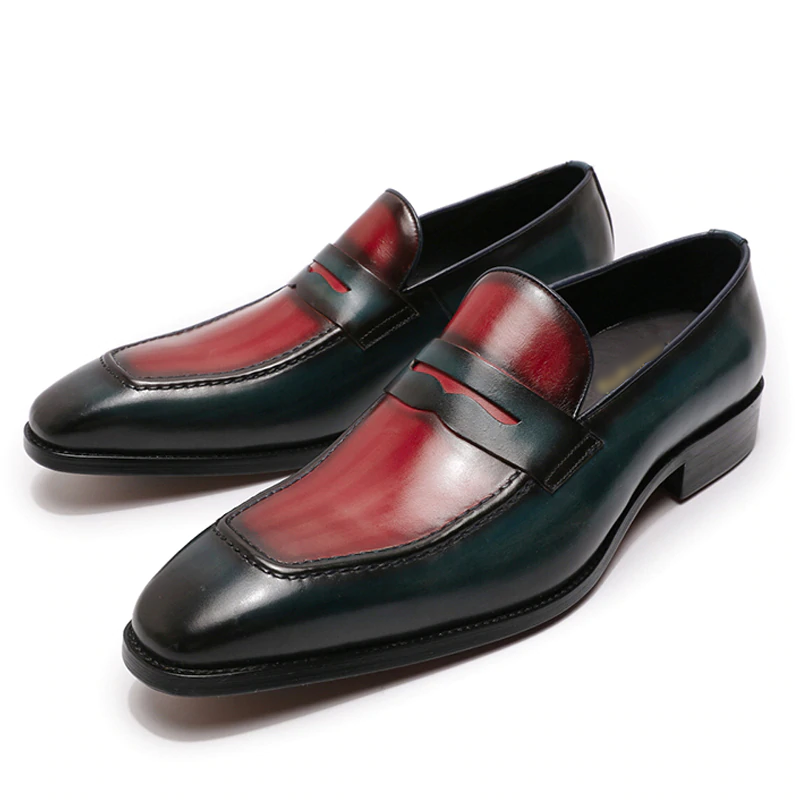 Mens  Loafers Genuine Calf Leather Blue Red Men Dress Shoes Italian