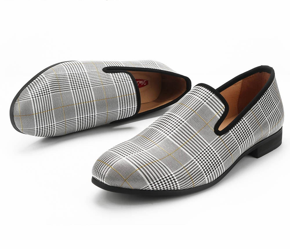White Grey Chequered Flat Casual Men Loafers Shoes