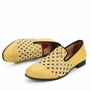 Yellow Hollow with Crystal Sequin Detail Men Loafers Shoes