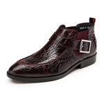 Pointed Toe Croco Pattern with Pin Buckle Design Men Ankle Boot