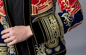 Red Navy Combination Gold Baroque Art Embroidery Men Black Blazer for Stage Performer