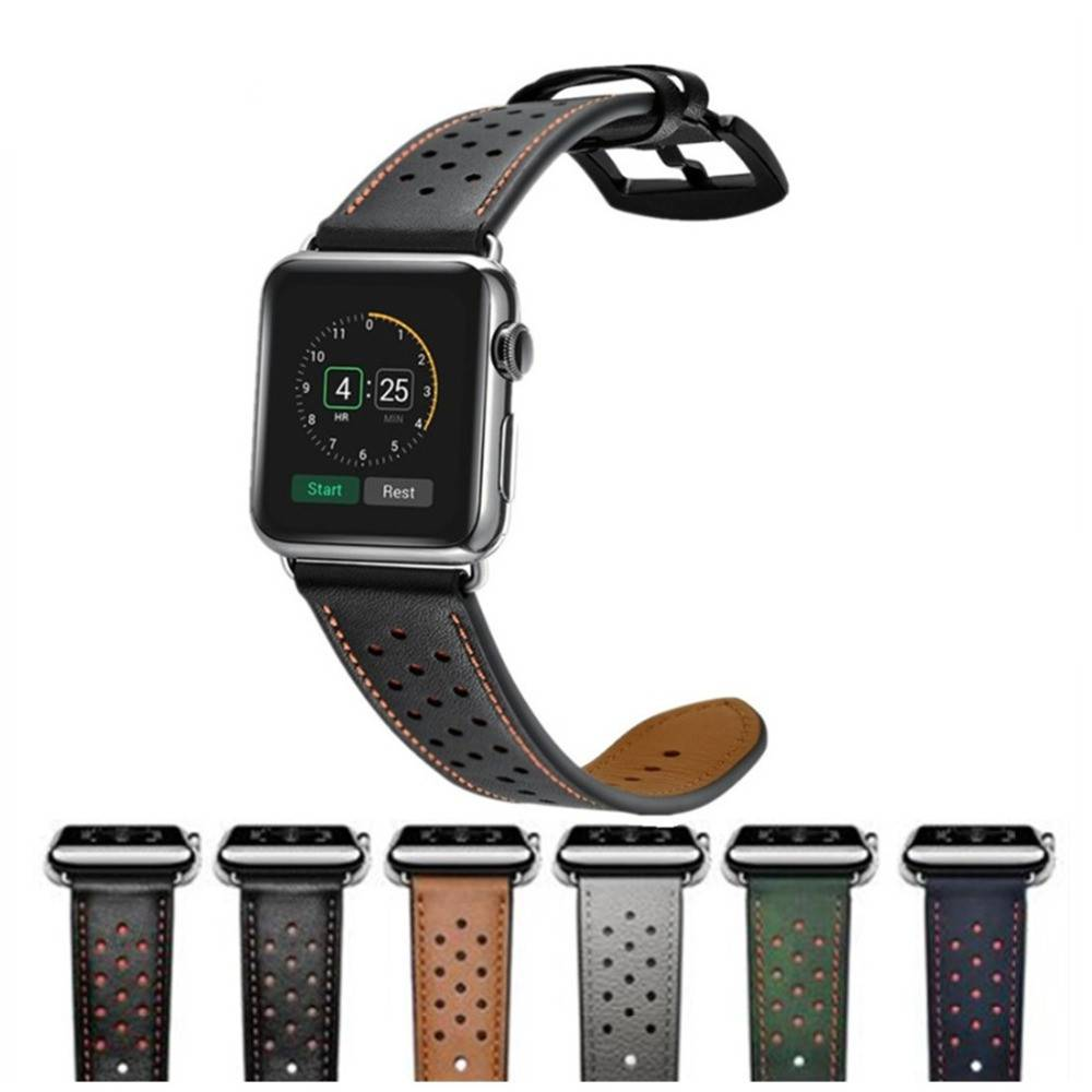 Perforated Casual Style Apple Watch Leather Strap